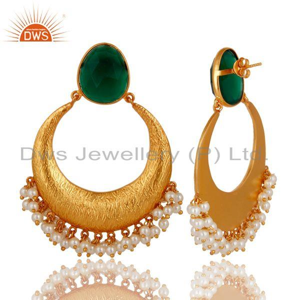 Exporter 18K Yellow Gold Plated Sterling Silver Green Onyx & Pearl Ethnic Desgin Earrings