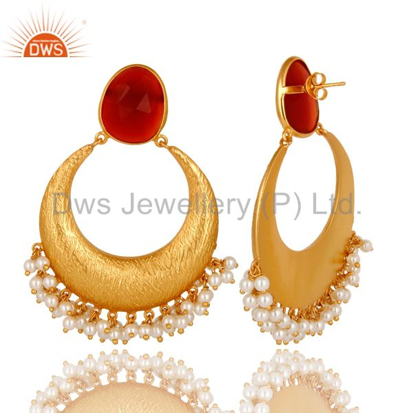 Exporter 18K Yellow Gold Plated Sterling Silver Red Onyx And Pearl Ethnic Fashion Earring