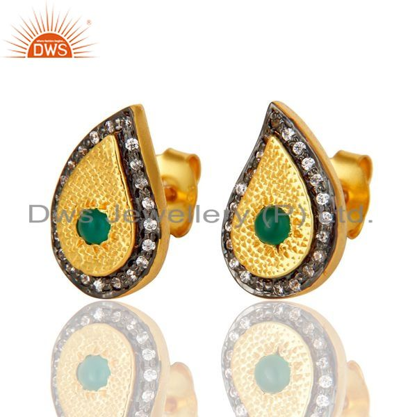 Exporter 14K Yellow Gold Plated Sterling Silver Green Onyx And CZ Teardrop Stud Earrings