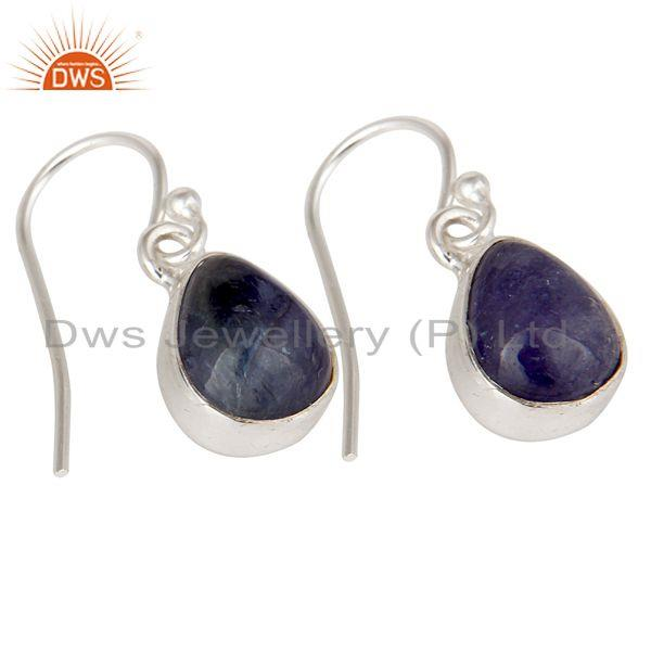 Exporter 925 Sterling Silver Tanzanite Gemstone Bezel Setting Teardrop Earrings