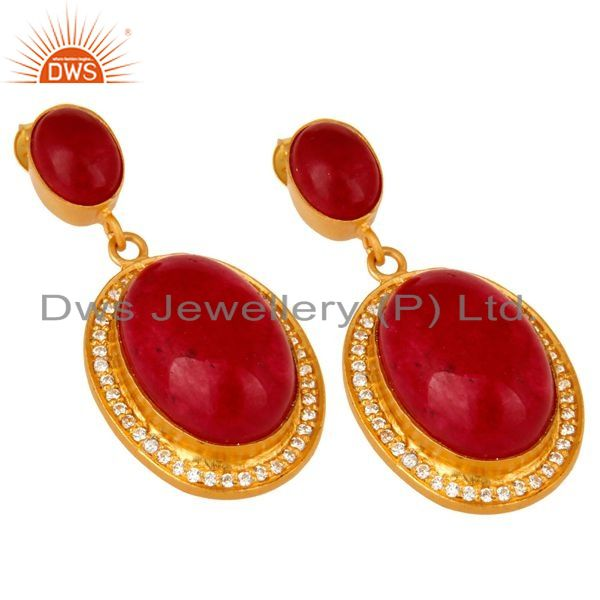 Exporter 14K Yellow Gold Plated Sterling Silver Red Aventurine Dangle Earrings With CZ