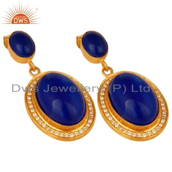 Exporter 14K Yellow Gold Plated Sterling Silver Blue Aventurine Dangle Earrings With CZ