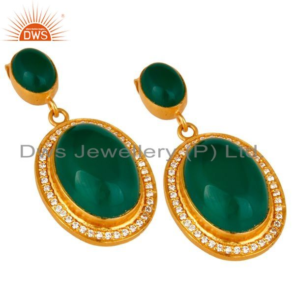 Exporter 18K Yellow Gold Plated Sterling Silver Green Aventurine Dangle Earrings With CZ