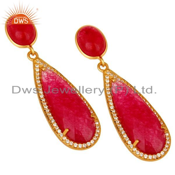 Exporter 18K Yellow Gold Plated Sterling Silver Red Aventurine Drop Earrings With CZ