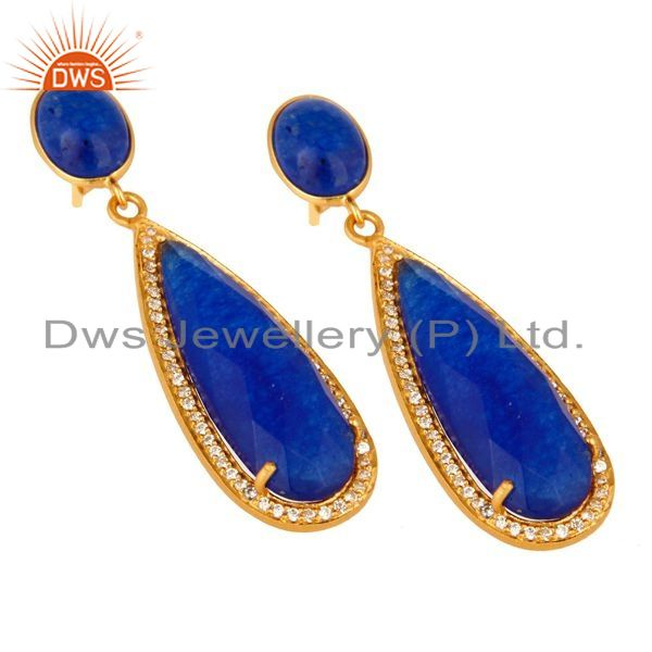 Exporter 18K Yellow Gold Plated Sterling Silver Blue Aventurine Drop Earrings With CZ