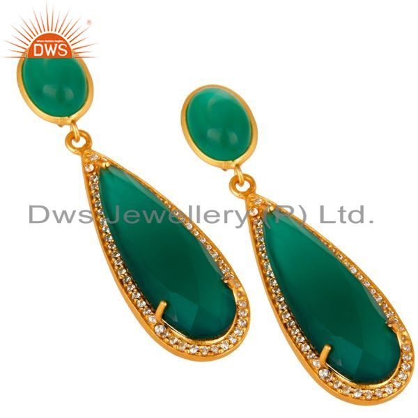 Exporter 18K Yellow Gold Plated Sterling Silver Green Aventurine Drop Earrings With CZ