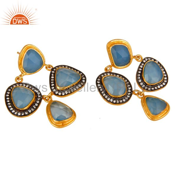 Exporter 18K Gold Plated Sterling Silver Blue Chalcedony And CZ Chandelier Earrings