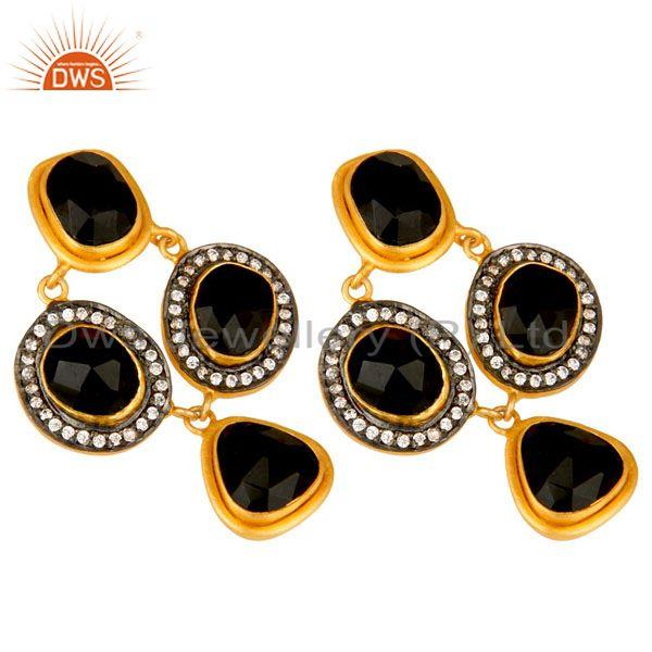 Exporter 18K Yellow Gold Plated Sterling Silver Black Onyx And CZ Fashion Earrings