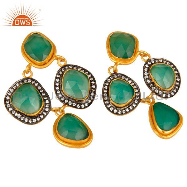 Exporter 18K Yellow Gold Plated Sterling Silver Green Onyx And CZ Chandelier Earrings