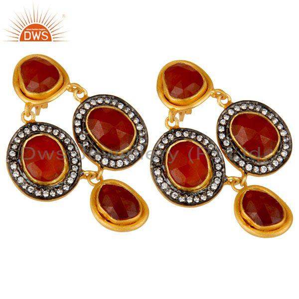 Exporter 18K Yellow Gold Plated Sterling Silver Red Onyx And CZ Fashion Dangle Earrings