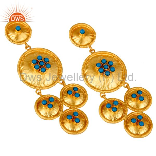 Exporter 22K Matte Yellow Gold Plated Sterling Silver Turquoise Disc Chandelier Earrings
