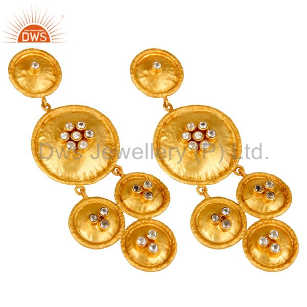 Exporter 22K Matte Yellow Gold Plated Sterling Silver White Topaz Disc Chandelier Earring