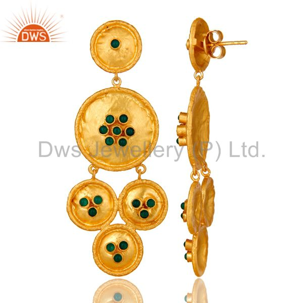 Exporter 22K Matte Yellow Gold Plated Sterling Silver Green Onyx Disc Chandelier Earrings