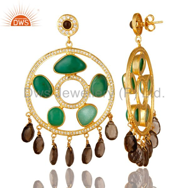 Exporter 22K Gold Plated Sterling Silver Chrysoprase And Smoky Quartz Chandelier Earrings