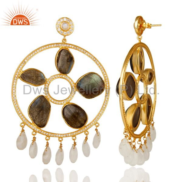 Exporter 18K Gold Plated Silver Rainbow Moonstone And Labradorite Chandelier Earrings