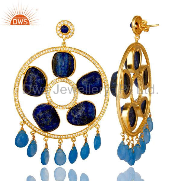 Exporter 18K Gold Plated Sterling Silver Lapis Lazuli And Chalcedony Chandelier Earrings
