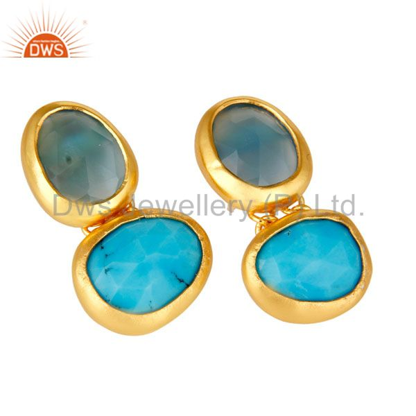 Exporter 18K Yellow Gold Plated Sterling Silver Chalcedony And Turquoise Dangle Earrings