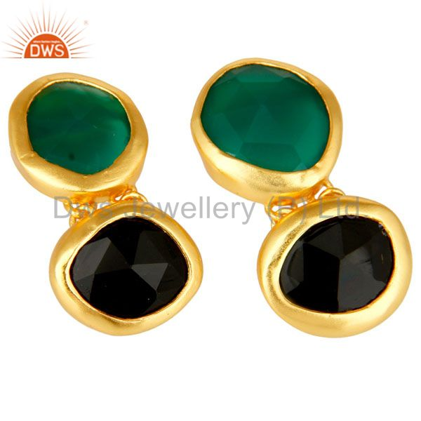 Exporter 18K Yellow Gold Plated Sterling Silver Green Onyx And Black Onyx Dangle Earrings