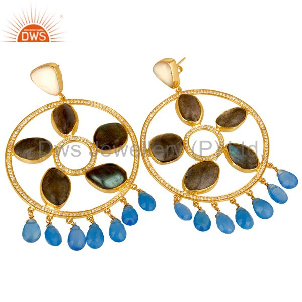 Exporter Gold Plated 925 Silver Labradorite And Chalcedony Chandelier Earrings