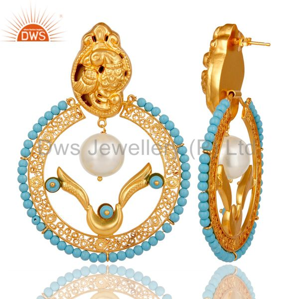 Exporter 18K Yellow Gold Plated Sterling Silver Turquoise and Pearl Traditional Earring