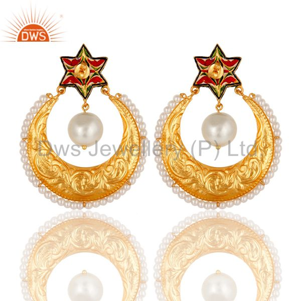 Exporter Pearl and Crystal Quartz Textured Gold Plated Silver Enamel Stud Drop Earring