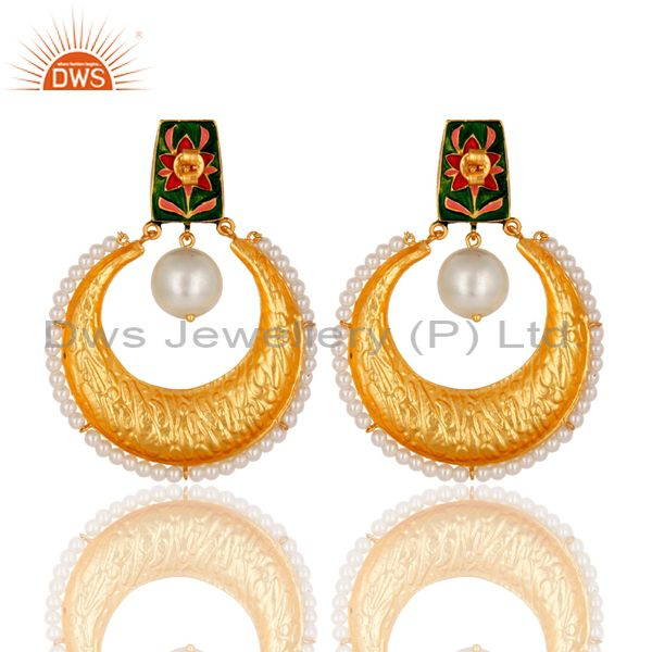 Exporter Crystal Quartz and Pearl Textured Yellow Gold Plated Silver Stud Enamel Earring