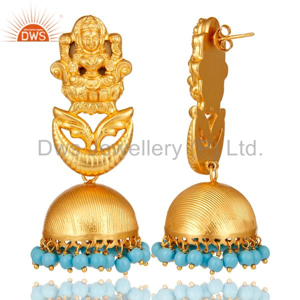Exporter 18K Gold Plated Sterling Silver Cultured Turquoise Temple Jewelry Earrings