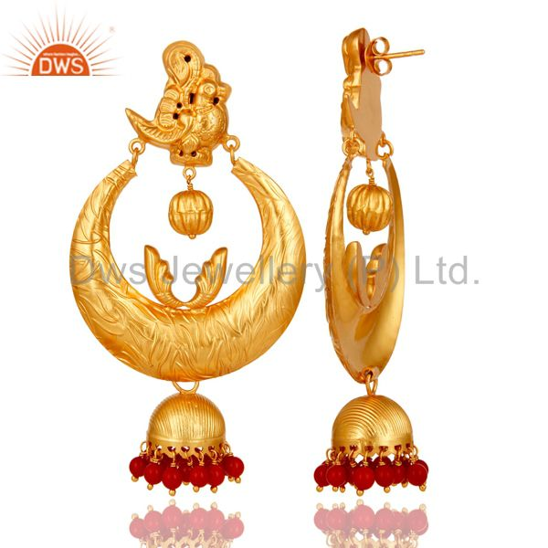 Exporter 18K Gold Plated Sterling Silver Coral Temple Jewelry Earring