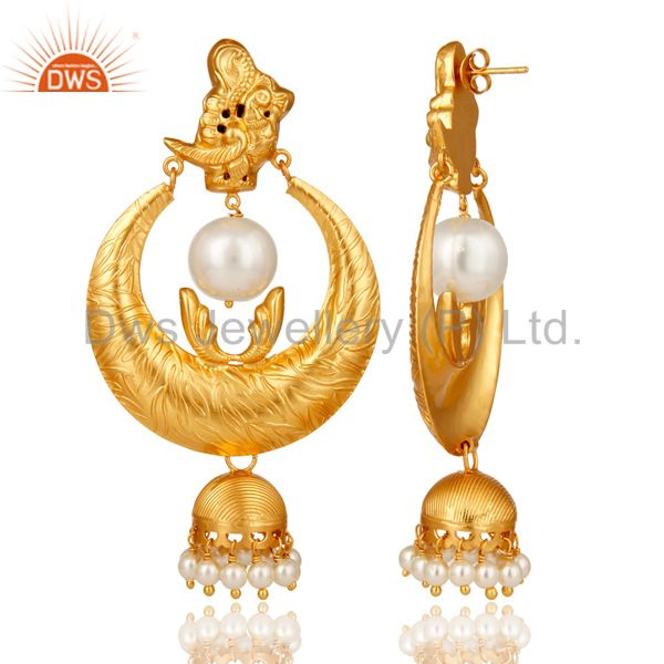 Exporter 18K Gold Plated Sterling Silver White Pearl Temple Jewelry Earring