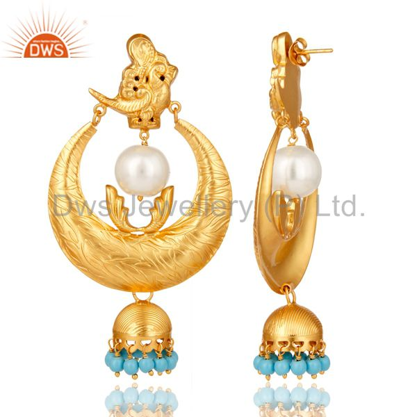Exporter 18K Gold Plated Sterling Silver White Pearl and Turquoise Temple Jewelry Earring