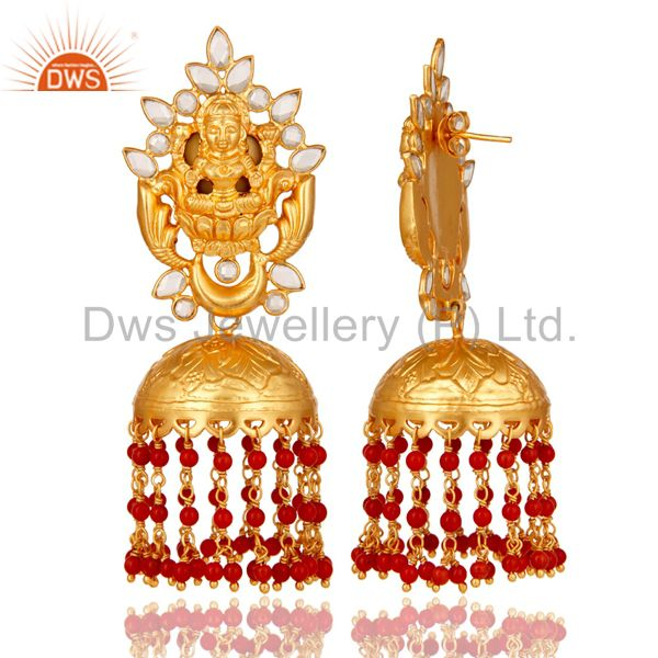 Exporter 18K Gold Plated Sterling Silver Coral and CZ Temple Jewelry Earring Jhumki