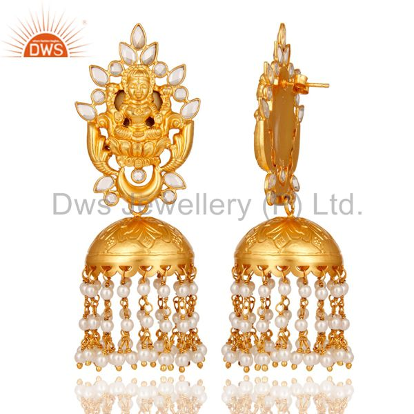 Exporter 18K Gold Plated Sterling Silver Pearl and CZ Temple Jewelry Earring Jhumki