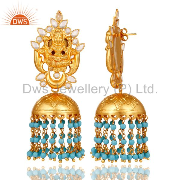 Exporter 18K Gold Plated Sterling Silver Turquoise and CZ Temple Jewelry Earring Jhumki
