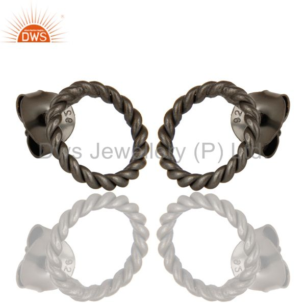 Exporter Black Oxidized Sterling Silver Twisted Wire Stud