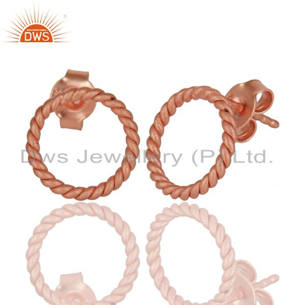 Exporter 18K Rose Gold Plated 925 Sterling Silver Handmade Twisted Wire Studs Earrings