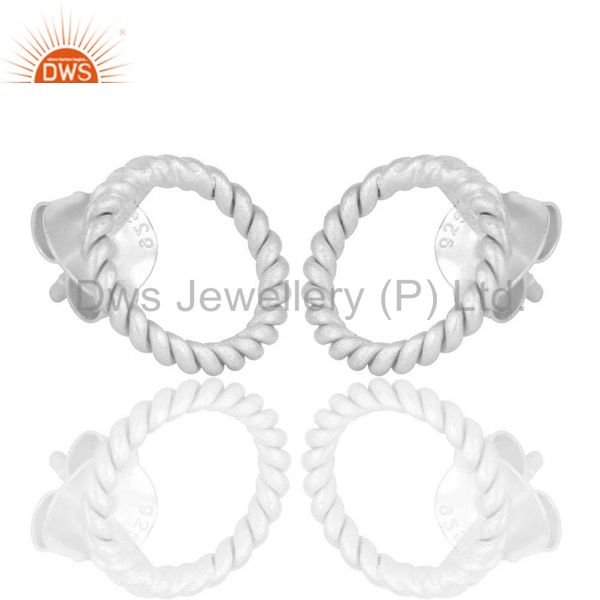 Exporter Solid 925 Sterling Silver Twisted Wire Stud