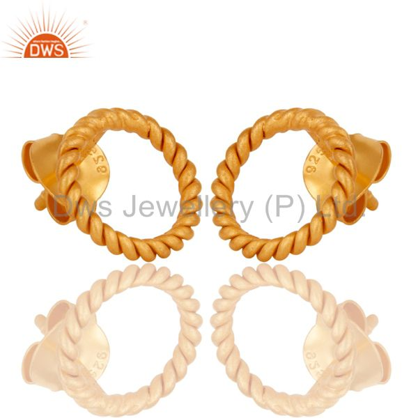 Exporter 18K Yellow Gold Plated 925 Sterling Silver Handmade Twisted Wire Studs Earrings