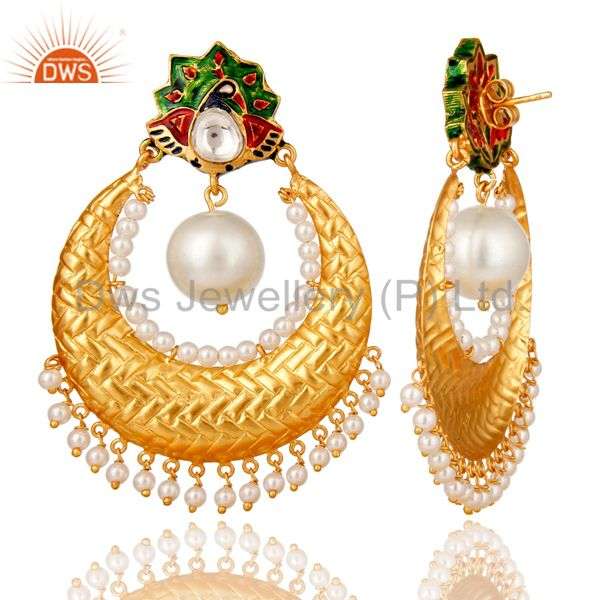 Exporter Pearl and Crystal Quartz Sterling Silver Gold Plated Enamel Earring