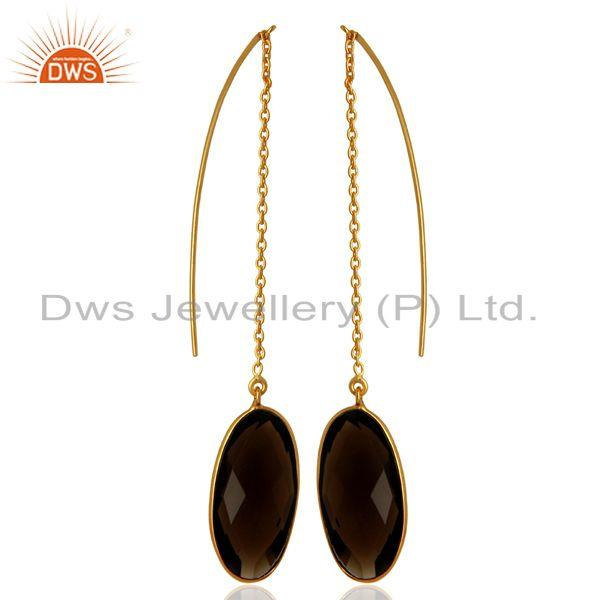 Exporter Smoky Quartz Gemstone Gold Plated 925 Silver Chain Earring Supplier