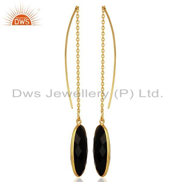 Exporter Gold Plated 925 Silver Black Onyx Gemstone Chain Earring Manufacturer