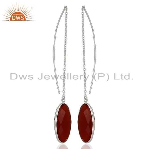 Exporter Red Onyx Gemstone 925 Sterling Fine Silver Chain Earrings Manufacturer
