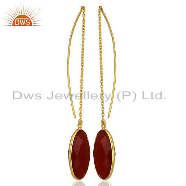 Exporter Red Onyx Gemstone Gold Plated 925 Silver Chain Earrings Manufacturer