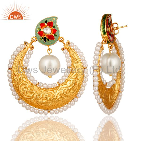 Exporter 18K Gold Plated Sterling Silver Crystal Polki and Pearl Enamel Earring