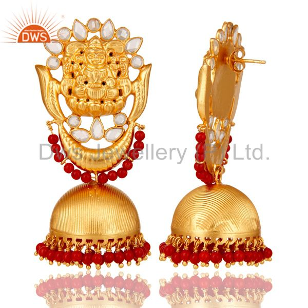 Exporter 18K Gold Plated Sterling Silver Temple Jewelry Coral and CZ Earring Jhumka