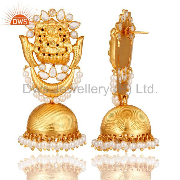 Exporter 18K Gold Plated Sterling Silver Temple Jewelry Pearl and CZ Earring Jhumka