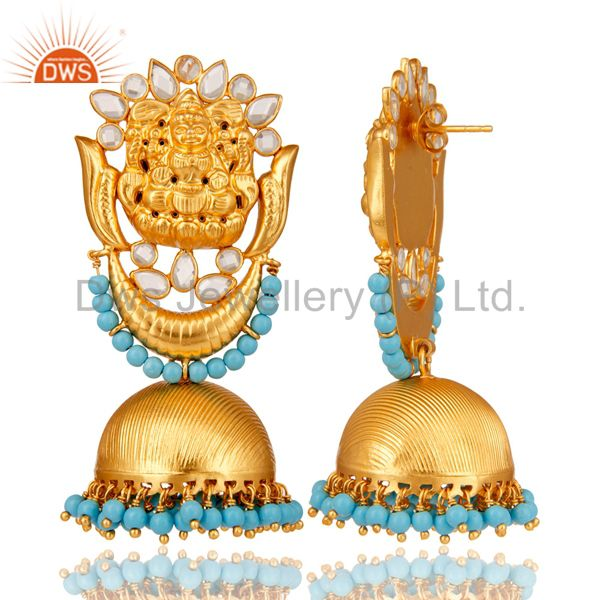 Exporter 18K Gold Plated Sterling Silver Temple Jewelry Turquoise and CZ Earring Jhumka