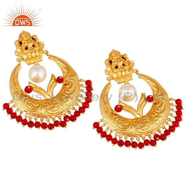 Exporter Coral and Pearl Beads 18K Gold Plated 925 Silver Temple Jewelry Jhumka Earring
