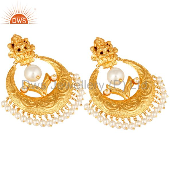 Exporter Pearl Beads 18K Gold Plated 925 Silver Temple Jewelry Jhumka Earring