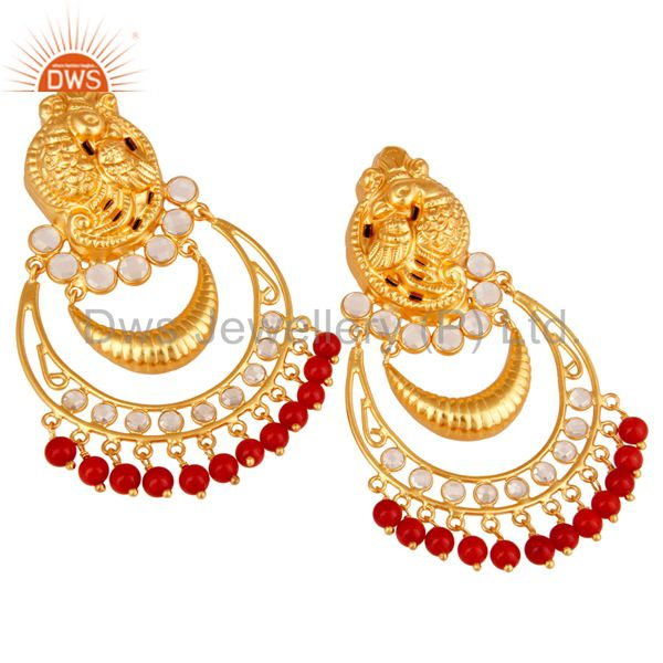 Exporter Coral and CZ 18K Gold Plated Sterling Silver Jhumka Earring Temple Jewelry