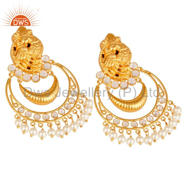 Exporter Pearl and CZ 18K Gold Plated Sterling Silver Jhumka Earring Temple Jewelry
